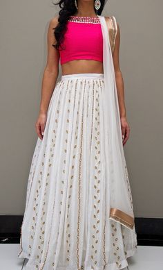Buy Off White Georgette Lehenga Choli Online Indian Wedding Outfits, Bridal Outfits, Indian Outfits, Western Outfits, Indian Attire, Indian Wear, Indian Style, Lehenga Choli, Anarkali