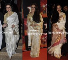 Style Talk : Rekhas Love for White Gold Sarees Rekha