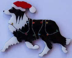 Border Collie Christmas Pin Magnet or Ornament by hansford800, $11.95