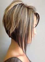 inverted bob with blonde highlights on dark hair. thinking of getting this coloring done.