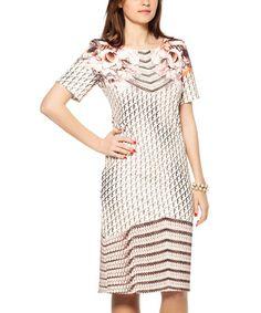 Look at this #zulilyfind! White & Mink Abstract Geometric Dress - Plus by Zedd Plus #zulilyfinds