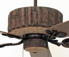 The Copper Canyon Pine Valley Ceiling Fan replicates the look of a freshly cut pine log. The rough bark finish is realistically hand painted to mimic. Cabin Lighting, Rustic Lighting, Interior Lighting, Lighting Ideas, Pine Valley, Log Cabin Homes, Log Cabins, Rustic Loft, White String Lights