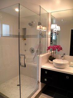 Suzie: HGTV - Contemporary bathroom with seamless glass shower, ebony floating bathroom vanity ...