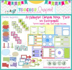 CHEVRON THEME - ActivInspire Backgrounds, buttons, graphic organizers, and more! Classroom Organisation, Classroom Displays, Classroom Decor, Teacher Sites, Teacher Supplies, Circle Map, Promethean Board, Character And Setting, Mega Pack