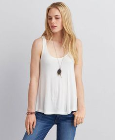 88a1247d American Eagle Soft & Sexy Swing Tank, Women's, White Buy One Get One