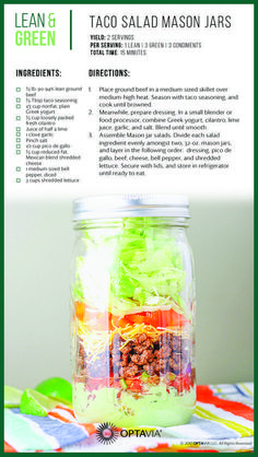 Stacey Hawkins Phoenix Sunrise is the perfect spice to go with this lean and green recipe instead of boring taco seasoning. Make your taco salad POP with new flavors and healthy ingredients. Mason Jars, Mason Jar Meals, Mason Jar Recipes, Medifast Recipes, Healthy Recipes, Lean Recipes, Healthy Food, Thm Recipes, Healthy Eating Habits