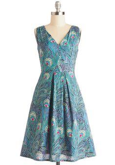 Spread Smiles Dress - Daytime Party, A-line, Better, Pleats, Sleeveless, V Neck, Cotton, Woven, Long, Multi, Blue, Purple, Animal Print, Poc...