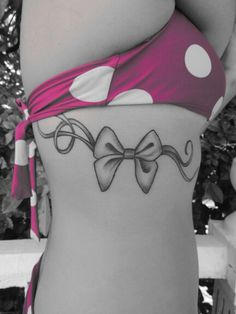 Bow tattoo. Love. Black and white.