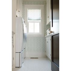 Laundry room vibes #cwdportfolio {wallpaper is Schumacher Summer Palace Fret in Mineral}
