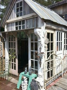 Made from old windows, great for a greenhouse