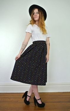 Hey, I found this really awesome Etsy listing at https://www.etsy.com/listing/204878507/pretty-polka-dot-vintage-skirt-a-line