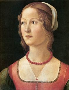 Ghirlandaio Portrait of a Young Woman, , , Museu Calouste Gulbenkian, Lisbon. Read more about the symbolism and interpretation of Portrait of a Young Woman by Ghirlandaio. Portrait Renaissance, Costume Renaissance, Die Renaissance, Renaissance Kunst, Renaissance Paintings, Renaissance Fashion, Italian Renaissance Art, Medieval Paintings, Renaissance Jewelry