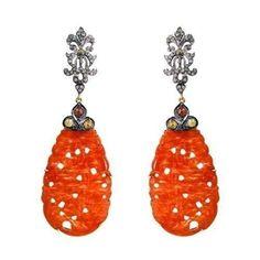 14K Gold 925 Sterling Silver Diamond Coral Carved Dangle Earrings Fine Jewelry #raj_jewels