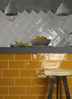 Use Trendy Subway Tiles For Brighter Home Kitchen In The Next Renovation diy projects Subway tiles are popular for kitchen backsplashes for many good reasons. They're cheap, easy to clean, endlessly versatile. The trend of subway tiles . Glazed Tiles, All White Kitchen, Yellow Interior, Bright Homes, Living Room Remodel, Wall Tiles, Subway Tiles, Kitchen Backsplash, Wall Colors