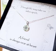 Compass necklace, Friendship card, silver compass charm, Friendship necklace, best friends gift, 2013 graduation gift