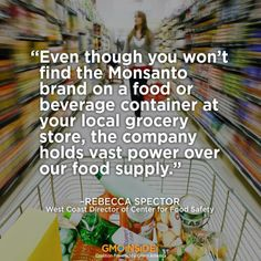 Monsanto the multinational biotechnology corporation is based in the U.S and the world's leading producer of Roundup, and the largest producer of GMO seeds on the planet. Do we want to leave behind a world of food produced by Monsanto? Please share this quote from Rebecca Spector of Center for Food Safety.  #Monsanto #GMOs #Processed #Foods