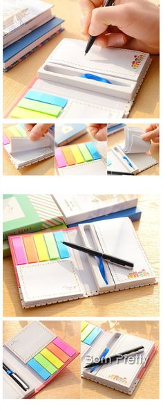 $7.94 2 Pcs/set (Notebook & Pen) Sticky Note Fashion Portable Note Hard Plush Notebook (Random Pattern) - BornPrettyStore.com