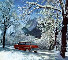 It's the most wonderful time of the year 1960 Opel calendar  Opel for the Holidays. Opel Rekord P1 in Bavaria's Berchtesgadener Land.