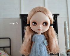 Knitting/Sweater Dress  Light Blue with unique brooch by moofafa