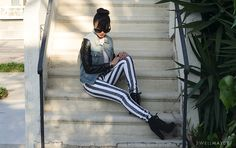 swellmayde: DIY | BLACK & WHITE STRIPED DENIM WITH MISS KL
