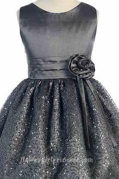 Flower Girl Dresses - Christmas Dresses - SK369 - Silver Satin and Sparkle Formal Dress
