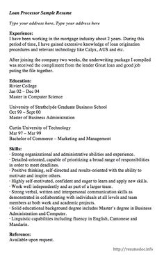 sample cover letter mortgage loan processor creative resume design templates word pinterest job info and job search. Resume Example. Resume CV Cover Letter