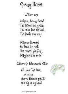 Spring Poetry (includes a activity sheets, crafts and/or coloring ...