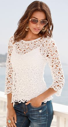 White lace top, blouse, blue jeans. Summer boho #women #fashion outfit #clothing style apparel @roressclothes closet ideas