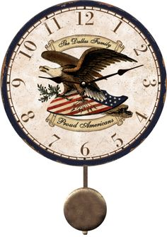 Personalized Eagle Wall Clock. Patriotic Personalized Eagle Wall Clock