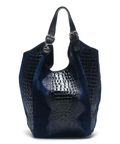 Look what I found on #zulily! Blu Scuro Croc-Embossed Leather Hobo by Carla Ferreri #zulilyfinds