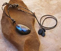 :: Starwatcher ::    As you gaze into the depths of this labradorite pendant, galactic starclouds appear. I created this elegant necklace in