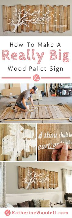 Awesome Tutorial On How To Make A Really Big Pallet Sign! - - - - She has instructions on how to assemble the pallet sign and how she made a… #palletfurniturelivingroom