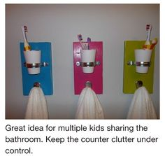 Cute Bathroom Idea, but need to find a way for the toothbrushes to be covered and not exposed to those nasty toilet germs. ICK!