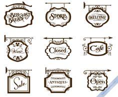 vintage store signs 450x371 おしゃれ!ヨーロピアンなアイアンサインの無料ベクターイラスト素材2set(AI・EPS・PDF・PNG) Free Style