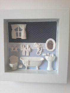 Bathroom Picture Frames, Picture Frame Decor, Box Frame Art, Shadow Box Frames, Vitrine Miniature, Mini Doll House, Sock Crafts, Pinterest Crafts, Decoupage Vintage