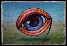the eye, 2016 Kuba Bartyński Acrylic on cardboard #surreal #surrealism #painting #drawing #malarstwo #ilustracja #artminiatory