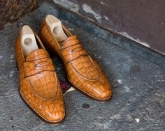 The saintcrispins hand-welted exotic loafer — at thearmoury in New York.