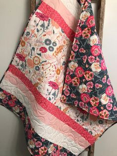 Sewing Projects For Baby Modern Floral Baby Quilt Baby Girl Pink Gold Gray Cottage Quilt Baby, Baby Girl Quilts, Girls Quilts, Baby Bedding, Owl Quilts, Ruffle Quilt, Diy Sewing Projects, Sewing Projects For Beginners, Sewing Hacks