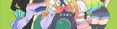 kobayashi-san chi no maid dragon, Fafnir, Elma, Tohru, Kanna y Lucoa