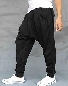 LATUD Mens Lightweight Harem Taper Hip Hop Hipster Slacks Sweatpant Pants Black