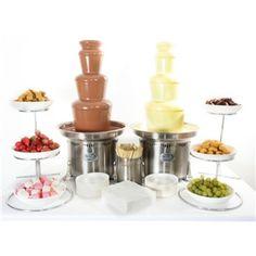 Milk and White Chocolate Fountain. Wedding theme