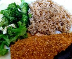 MEAL 1: oven fry chicken with a minute brown rice steamer cup and steamed broccoli.