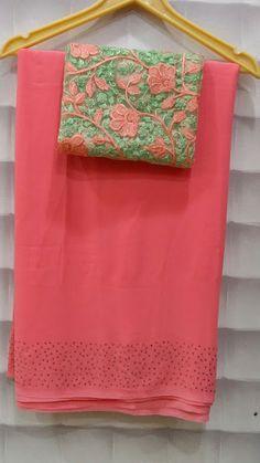 Georgette badla diamond border sarees with designer blouses Georgette Sarees, Silk Sarees, Shibori Sarees, Banarsi Saree, Organza Saree, Georgette Fabric, Pattu Saree Blouse Designs, Blouse Designs Silk, Simple Saree Designs