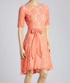 Look what I found on #zulily! Coral Rose Lace Scoop Neck Dress by Julian Taylor #zulilyfinds