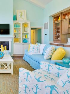 Bright and cheerful slipcovered nautical accent chair in a crisp white fabric that featured a anchor print in turquoise. Featured on Completely Coastal along with other slipcovering ideas for coastal living. Nautical Interior, Nautical Wall Decor, Coastal Decor, Coastal Living, Dining Room Chair Slipcovers, Furniture Slipcovers, Beach Hut Decor, Nautical Cushions, Family Dining Rooms
