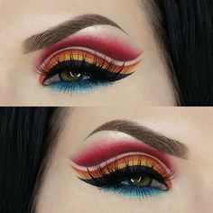 When I sat down the only idea I had was to use the primary colors and from there I just played until this came out. I had so much fun!  Products used:  BROWS: @anastasiabeverlyhills dipbrow pomade in Ebony  SHADOWS: red shadow is Love+ from @sugarpill, I deepened it by adding @makeupgeekcosmetics Aphrodite, Orange and yellow is @makeupgeekcosmetics Poppy blended into @sugarpill Buttercupcake, lower lash line is @makeupgeekcosmetics Houdini and Pegasus  LINER: @jeffreestarcosmetics liquid…