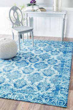 Floral Jannet Blue Area Rug