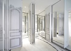 Wooden curtain drapes through Maison Margiela Milan flagship