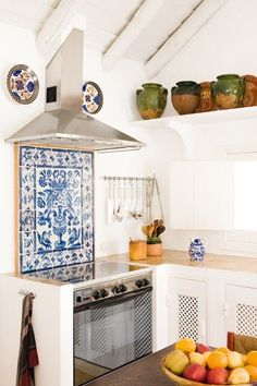 Blue and White tiled oven splash