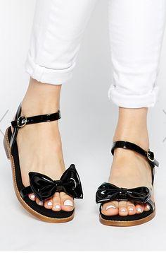 patent bow sandals